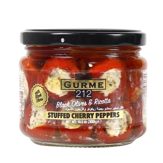Gurme212 Cherry Pepper stuffed w/Ricotta Cheese &Black Olive Paste 300 gr