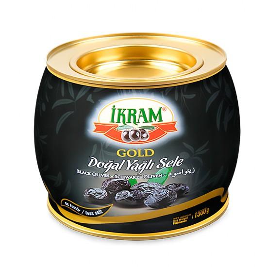 Ikram Black Olives Natural Sele Gold 1500 gr